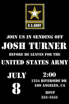 Army Send Off party invite. digital file. deployment party ...