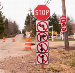 Funny Construction Detour Signs