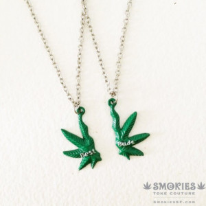 jewels green weed necklace cool hippie hipster punk stoner bff