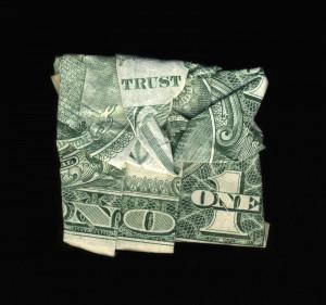 money art, folded money, trust no one