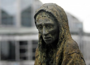 The Famine memorial sculpture by Rowan Gillespie in Dublin city.
