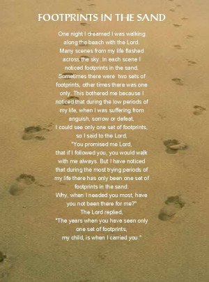 HE LIFTS US UP: Footprints in the Sand