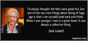 the Rats were good fun, but one of the very nice things about being ...