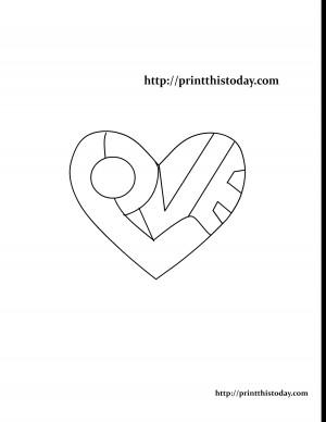 Word Love written inside a Heart Coloring Page