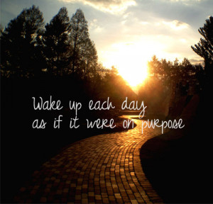 Wake up each day as if it were on purpose.
