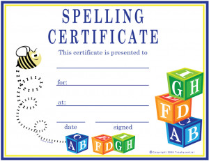 Spelling Bee Awards Certificates Printable