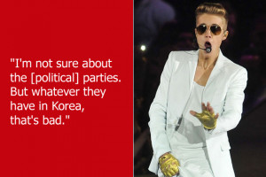 Justin Bieber 's oh-so-eloquent comments about North Korea pretty ...