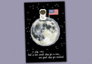 ... Cross Stitch Patterns Mini People Mini quotes Neil Armstrong quote