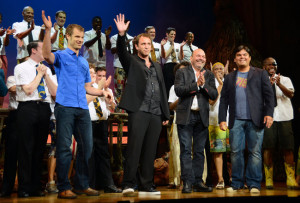 ... left) Matt Stone, Trey Parker, Casey Nicholaw and Robert Lopez at the