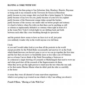 Having A Coke With You - Frank O'Hara This is poem made me love poetry