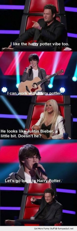 tv scene the voice harry potter justin beiber christina aguilera funny ...