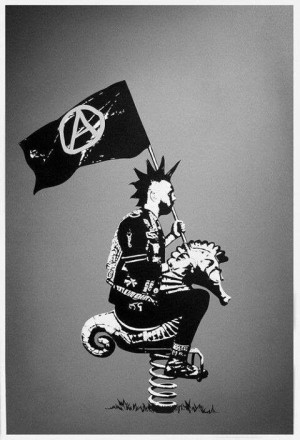 Punk riding a playground seahorse, sporting an anarchy flag. #Punk # ...