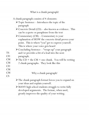 How to write a chunk paragraph