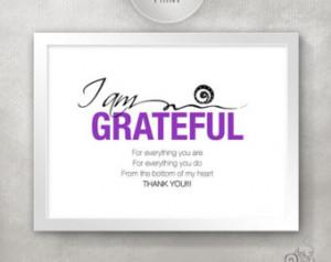Teacher Appreciation Gift / I AM GR ATEFUL Inspirational Quote Print ...