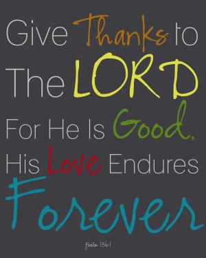 Bible Verses Psalm 136:1 GOD's Love Endures Forever   TOHH Bible