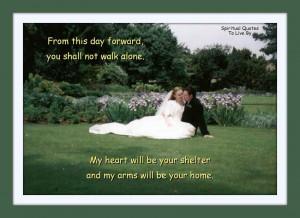 Wedding photo with quote