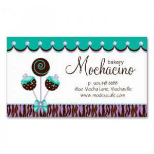 Zebra Business Cards » Cake Pops Business Card Bakery Mint Chocolate
