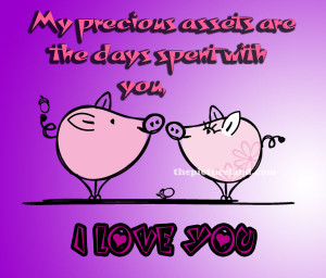 Love You Sayings With Picture Of Cute Pig Kissing