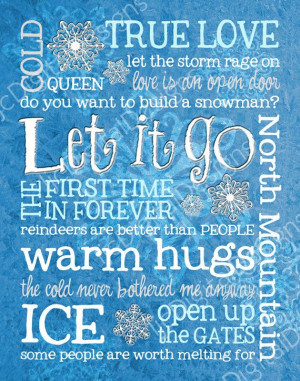 Frozen Inspired Fan Art Subway Art Printable Digital Poster Decoration ...
