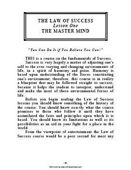 the law of success napoleon hill pdf
