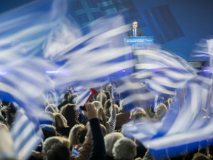 Greek Prime Minister Antonis Samaras speaks at an election rally of