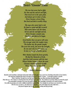 This poem was also included. It's special to Elder Fox and our family ...