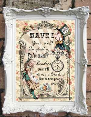 ALICE in Wonderland Quote Art Print. Shabby Chic Decor. Vintage Style ...