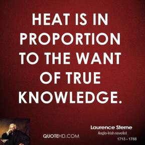 Laurence Sterne - Heat is in proportion to the want of true knowledge.