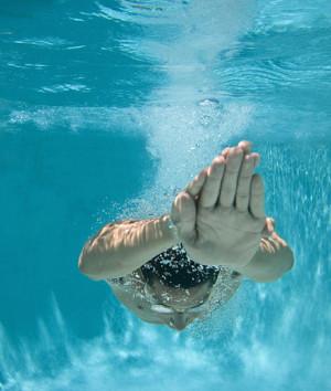 Man underwater diving