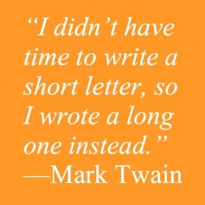 mark twain quote on writing short versus long