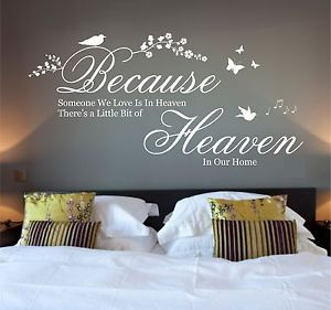 Details about Because Someone We Love is in Heaven Quote, Wall Art ...