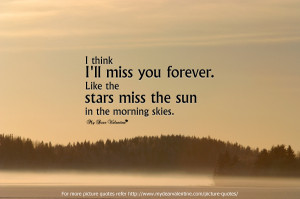Think I'll Miss You Forever Like The Stars Miss The Sun in The ...