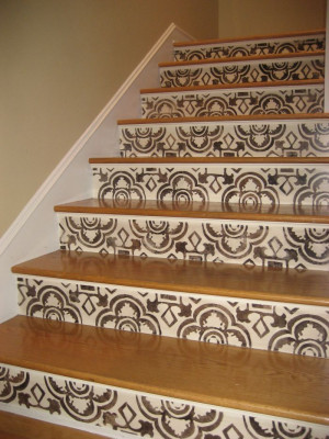 stenciled stair risers | Stenciled stair risers | Dream Home