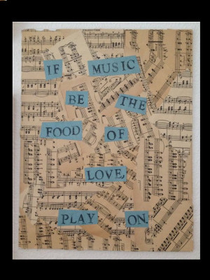 11x14 Shakespeare Twelfth Night Music Quote Mixed Media on Canvas by ...