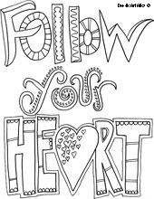 Follow Your Heart - a whole bunch of coloring pages (this one has the ...