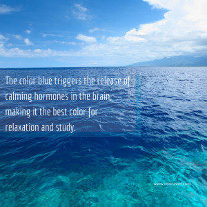 The color blue triggers the release of calming hormones in the brain ...