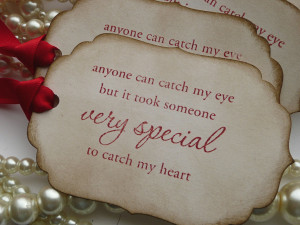 Wedding Favor Quote Tags - Red Romantic - Vintage Style Gift Tags ...