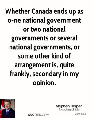 Whether Canada ends up as o-ne national government or two national ...