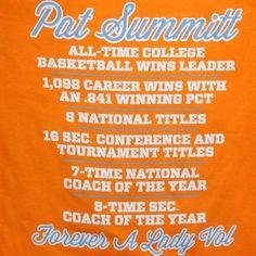 Tennessee Lady Vols Pat Summitt Vol Memories T-Shirt - Tennessee ...