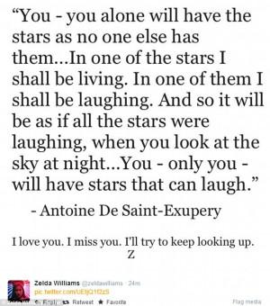 tweet: Zelda Williams posted an Antoine De Saint-Exupery quote ...
