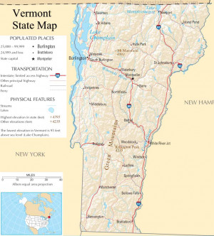 Vermont United States Map