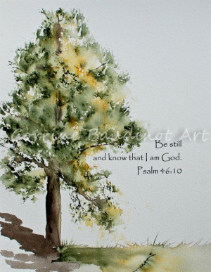 Watercolor painting of Old Oak Tree with Bible verseWatercolors Dreams ...