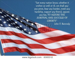Close-up of American Flag with Pres. Kennedy's quote -