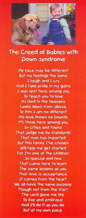 Down Syndrome Quotes And Poems (with down syndrome),
