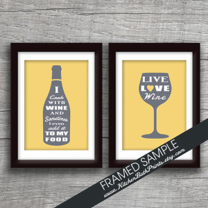 Funny Quote Wine Bottle and Wine Glass - Set of 2 - 5x7 Art Print ...