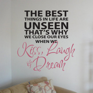 Kiss, Laugh, Dream 01 Vinyl Wall Quote Decal - 60 Colors Available