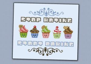 Cute Baking Quotes Stop hating, start baking