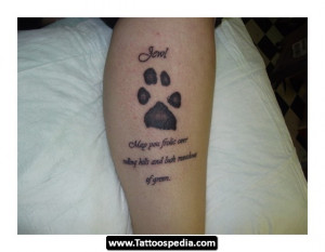 Dog Paw Tattoo On Leg For Women