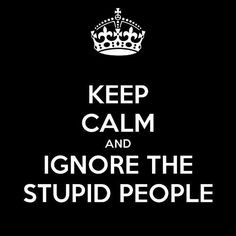 Keep calm and ignore the stupid people Quote