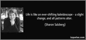 Life is like an ever-shifting kaleidoscope - a slight change, and all ...